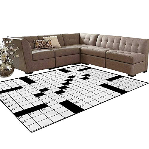 Word Search Puzzle Door Mats Area Rug Blank Newspaper Style Crossword Puzzle with Numbers in Word Grid Anti-Skid Area Rugs 6'x9' Black and White