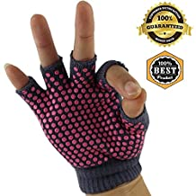 MeanHoo 1 Pair Yoga Gloves Non slip pairs for Training & Exercise Yoga Gear Fingerless Design For Uniex & Woman - Pink