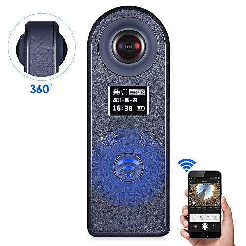360 Degree Camera, GBTIGER Dual Wide Angle Fish-Eye Panoramic Lens Mini Wireless Recorder, 1080P WiFi VR 3D Panoramic Point and Shoot Digital Video Cameras