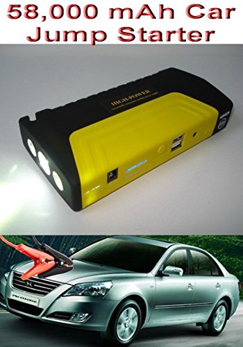 NEW 2015 58000mAh Car Jump Starter MAX CAPACITY Power Bank Battery USB Universal Travel Charger Mobile Devices Laptop Smartphones iPhone Android Jump Start Vehicle Emergency SOS Flashlight Auto Huge Capacity > 30000mAh & 38000mAh Batteries