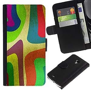 KingStore / Leather Etui en cuir / Samsung Galaxy S4 Mini i9190 / Wallpaper Colorfol neón Arte de la pintura de la raya