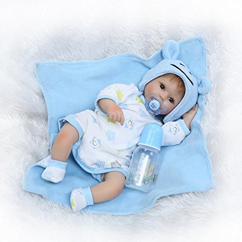 Funny House 42cm17 Newborn Hand Rooted Hair Lifelike Baby Doll Silicone Vinyl Reborn Baby Dolls with Free Magnet Pacifier Christmas Or Birthday Gift