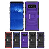 Galaxy Note 8 Stand Case, HLCT Rugged Shock Proof Dual-Layer Case with Built-In Kickstand (2017) (PurpleBlack)