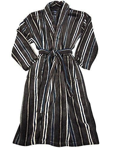 Striped Mens Robe (Majestic International - Mens Long Sleeve Striped Microfiber Robe, Onyx)