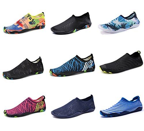Water Shoes Mens Womens Beach Swim Shoes Quick-Dry Aqua Socks Pool Shoes For Surf Yoga Water Aerobics (Black, (Aerobic Shoes)