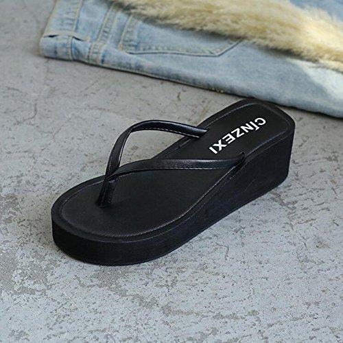 Air Été Marron Chaussures Noir Sandales De Plein Avec ZHANGRONG Waichuan Plage Des Femelle Épais De Talon 35 Haut taille Fond Couleur Pente S7xwUzqx