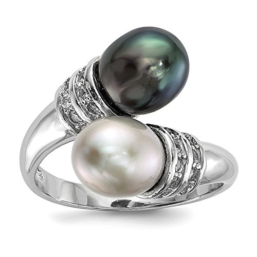 925 Sterling Silver Rh 8mm Black/grey Rice Freshwater Cultured Pearl Cubic Zirconia Cz Band Ring Size 6.00 Fine Jewelry Gifts For Women For Her ()