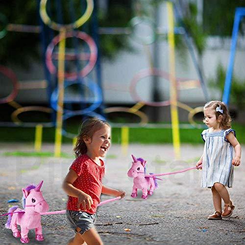 Electric Unicorn Pet Kids Leash Plush Pink Wings Stuffed Animal Toy,Sing Song Walk Twisting Super Cute Ass Unicorn Child Girl Baby Accompany Sleeping Animal Soft Toys Gift by Pink stars (Image #5)