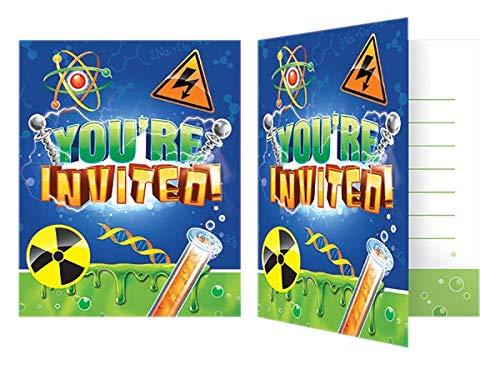 Mad Scientist Themed Party Invitations - 16 count