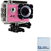 eCostConnection 4K Ultra HD 16MP WiFi Waterproof Sports Action Camera (Pink) with Anti-Shake DSP + eCostConnection Microfiber Cloth