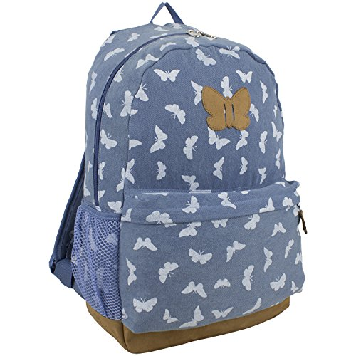 eastsport-denim-butterfly-print-backpack