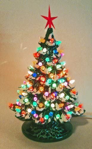 Amazon Com Christmas Decoration Lighted Christmas Tree Lighted Ceramic Christmas Tree By Pelton Crafts Home Kitchen