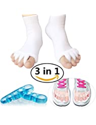 Toe Separators Set - 3 Pairs, Toes Alignment Socks, Gel Toe Spacers Toe Stretchers, Instant Therapeutic Bunion Relief for Women and Men