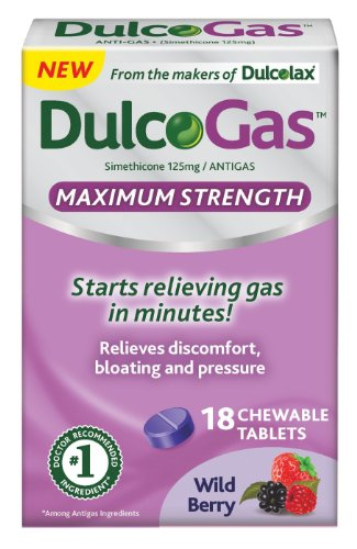 Dulcogas Maximum Strength Antigas Tablets, Wild Berry, 18 Count (pack of 2) by BOEHRINGER INGELHEIM CONSUMER