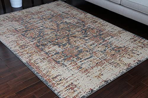 Rustic Collection Antique Style Wool Exposed Cotton and Jute Oriental Carpet Area Rug Rugs Charcol Rust Beige 7003 Black 5×7 6×8 5'2×7'4