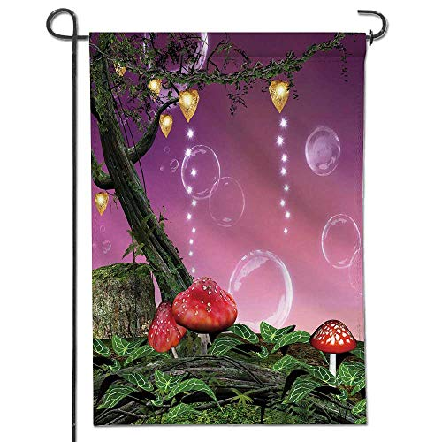 (Jiahonghome Garden Flag Forest with red mush s and soap Bubbles Home Sweet Home Double Sided Decorative Flags for Outdoors 26