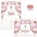 Baby Baptism Invitations ( 100 ) & Matching Thank You Cards ( 100 ) with Envelopes, Large Family Church Christening Celebration, Pink Roses Fill-in Invites & Folded Thank You Notes Best Value Pair