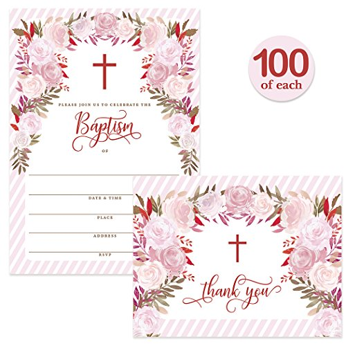 Baby Baptism Invitations ( 100 ) & Matching Thank You Cards ( 100 ) with Envelopes, Large Family Church Christening Celebration, Pink Roses Fill-in Invites & Folded Thank You Notes Best Value Pair by Digibuddha