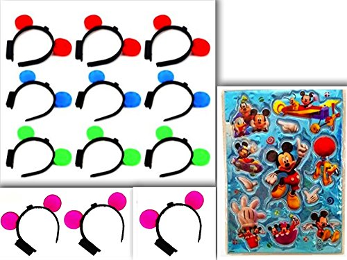 12 Piece Best & Unique LED Light Flashing & Blinking Light Up Mickey Mouse Ear Headband & Disney's Licensed Mickie Mouse Clubhouse Puffy Sticker in Fun Assorted Colors: (Green, Blue, Pink & Red)