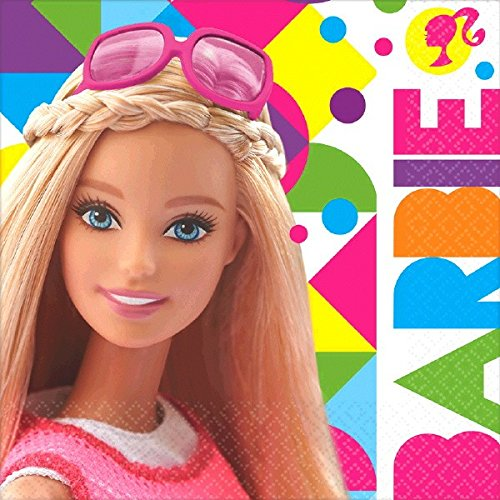 BarbieTM Sparkle Luncheon Napkins Birthday Party Tableware Supply (16 Pack), Multi Color, 6.5