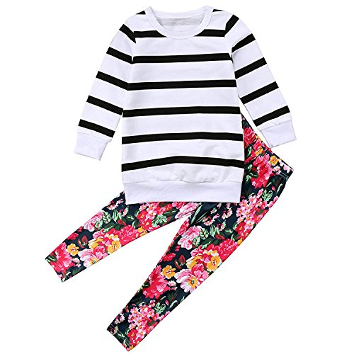 2PCS Toddler Kids Baby Girls Outfits Striped T-Shirt Long Sleeve Blouse Top + Floral Print Pants Clothing Set (White, 1-2 T) -