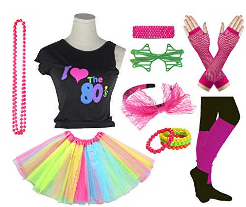 Girls I Love The 80's Disco T-Shirt for 1980s Theme Party Outfit (Rainbow01, 7-8 Years) -