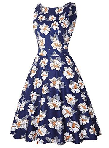 Floral 1950s Swing White Vestido Up Vintage Pin Vestido 275 De Rockabilly Blue Cóctel Mujer Hepburn navy rwZ6qrnAS