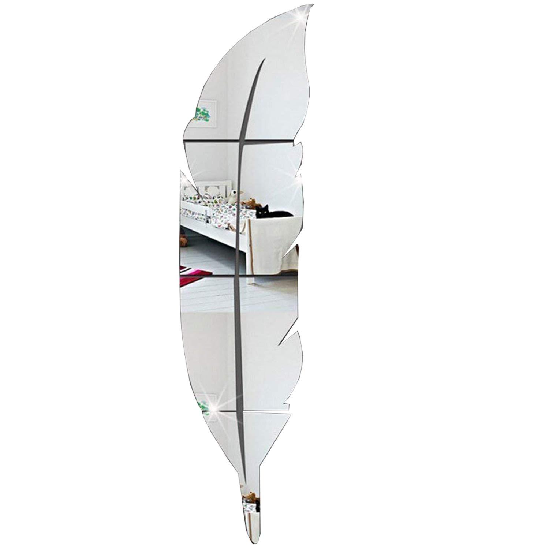 Garwarm 3D Moderne Cr/éative Amovible D/écoratif Acrylique Miroir Sans Frame Art Murale Autocollant Pour Bureau Home Decor de Salon Chambre d Enfants Filles-Plume dArgent