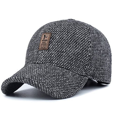 King Star Mens Winter Wool Woolen Tweed Peaked Earflap Baseball Cap Grey ()
