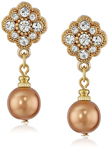 1928 Jewelry Gold-Tone Simulated Cinnamon Copper Pearl and Crystal Drop Earrings
