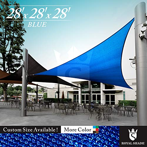 Royal Shade 28' x 28' x 28' Blue Triangle Sun Shade Sail Canopy Outdoor Patio Fabric Shelter Cloth Screen Awning - 95% UV Protection, 200 GSM, Heavy Duty, 5 Years - Sail Canopy Sun Triangle Shade