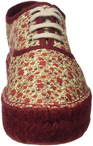 Plano Burdeos EU Ingles Hakei Zapatillas Doble 39 Yute Flores para Mujer 8q6WET6x