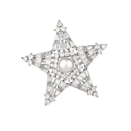 Pins & Brooches Fashion Jewelry Gold Tone Silver Metal Diamond Star Brooch