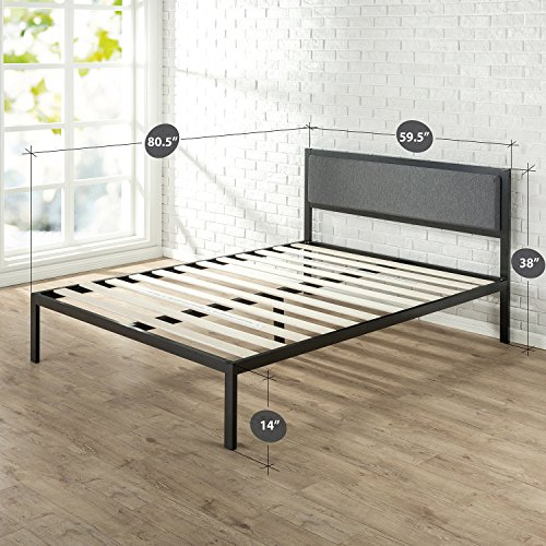 Zinus 14 Inch Platform Metal Bed Frame with Upholstered Headboard, Mattress Foundation, Wood Slat Support, Queen