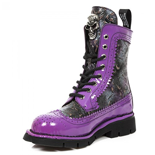 New Rock Boots M.newmili110-r4 Gotico Hardrock Punk Unisex Stiefelette Lila