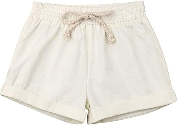 5 Years Girls Shorts Broderie Anglaise Trim Cotton Linen Summer White 6 Months
