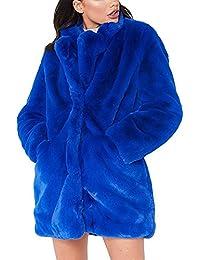 Womens Winter Coat Fluffy Faux Fur Warm Outwear Coat Long Sleeve Jacket Pockets Cardigan