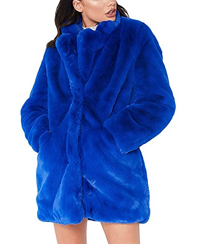 Blue Fox Fur Coat Jacket (Salimdy Womens Long Sleeve Winter Warm Lapel Fox Faux Fur Coat Jacket Overcoat Outwear With Pockets Blue XL)