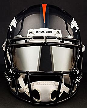 Amazon.com : Riddell Speed DENVER BRONCOS NFL REPLICA Football Helmet with MIRRORED Eye Shield/Visor : Sports & Outdoors