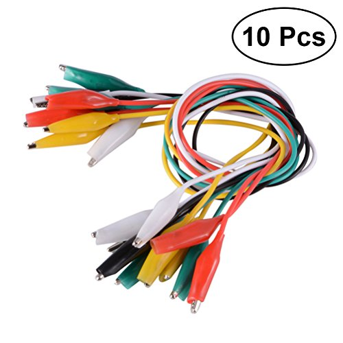 UKCOCO 10 Pcs 50cm Test Lead Set Alligator Clips Double-ended Alligator Clips Jumper Wire Mini Test Clips DIY Test Cable (Red Black White Yellow Green)