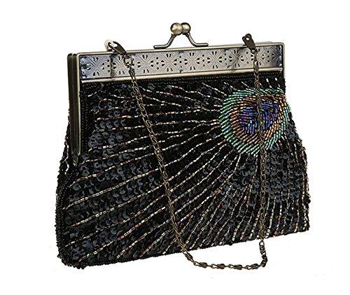 Teal Unusual Sunburst Eye Antique Clutch Purse Vintage Catching Beaded Peacock Evening Black Sequin Handbag wt5Tzqg