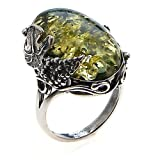 Green Amber and Sterling Silver Large Ring