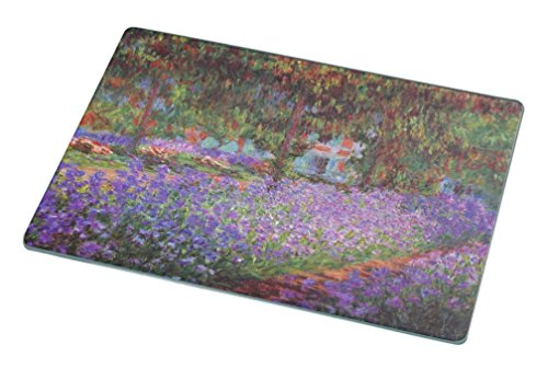 Rikki Knight Claude Monet Art Garden in Giverny Small glass Cutting board (Claude Monet Garden Giverny)