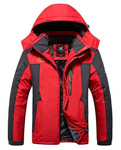 HOWON Men's Mountain Waterproof Fleece Ski Jacket Windproof Rain Jacket Red -