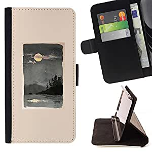 Momo Phone Case / Flip Funda de Cuero Case Cover - Luna Mar Naturaleza Olas Pintura - Motorola Moto E ( 1st Generation )