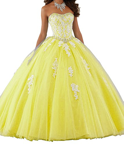 Gown Prom Aurora (Aurora Bridal Women's Ball Gown Quinceanera Dresses Prom Gowns Yellow 4)