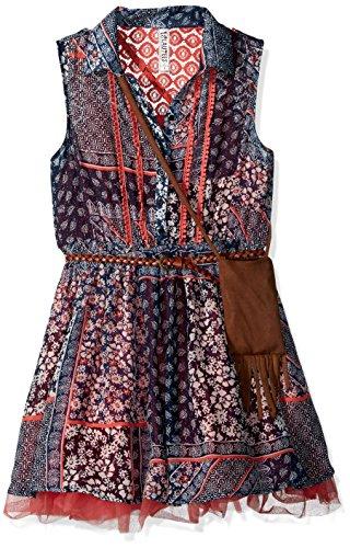 Bt Kids Dress (Beautees Big Girls' Patchwork Print BT. Front Shirt Waist Dress, Sage, 14)