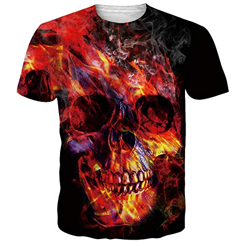 Alistyle Mens 3D Skull Short Sleeve Summer Casual Basic Crewneck Tops XXL -