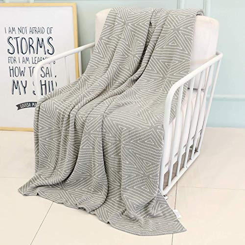 NuvoLe Home 100% Cotton Throw Blanket, Stylish While Classic Pattern, Natural Soft & Cozy Throws for Bed Couch/Sofa/Bed/Picnic ()