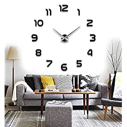 Arabic Numerals Luxury Contemporary DIY Frameless 3D Large Big Mirror Effect Wall Clock Oversized Clock Home Decoration Living Room Décor Wall Sticker Decal Office Decor (Black)